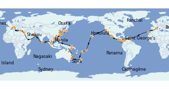 Itinéraire de la croisière Tour du Monde 2023 119 jours à bord du MSC Poesia