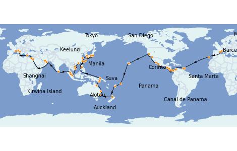 Itinéraire de la croisière Tour du Monde 2023 118 jours à bord du MSC Poesia