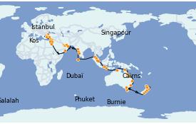 Itinéraire de la croisière Australie 2022 74 jours à bord du Seven Seas Explorer