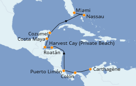 Itinéraire de la croisière Caraïbes de l'Ouest 12 jours à bord du Seven Seas Navigator