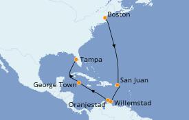 Itinéraire de la croisière Caraïbes de l'Est 12 jours à bord du Brilliance of the Seas
