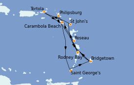 Itinerario de crucero Caribe del Este 14 días a bordo del Seabourn Odyssey