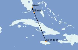 Itinéraire de la croisière Caraïbes de l'Ouest 6 jours à bord du Carnival Sunrise