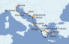 Itinéraire de la croisière Grèce & Adriatique 10 jours à bord du Le Lyrial