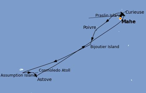 Itinéraire de la croisière Océan Indien 12 jours à bord du Le Bougainville