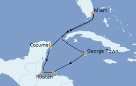 Itinéraire de la croisière Caraïbes de l'Ouest 8 jours à bord du Norwegian Sky