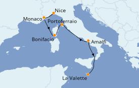 Itinéraire de la croisière Méditerranée 8 jours à bord du Le Bellot
