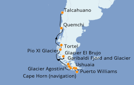 Itinéraire de la croisière Amérique du Sud 13 jours à bord du Le Soléal