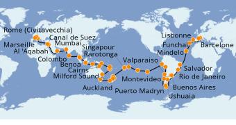 Itinéraire de la croisière Tour du Monde 2022 117 jours à bord du MSC Poesia