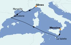 Itinéraire de la croisière Méditerranée 6 jours à bord du MSC World Europa
