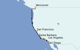 Itinéraire de la croisière Californie 11 jours à bord du Crown Princess
