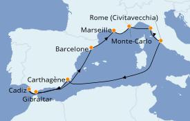 Itinéraire de la croisière Méditerranée 11 jours à bord du ms Nieuw Statendam