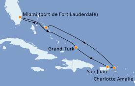 Itinéraire de la croisière Caraïbes de l'Est 8 jours à bord du ms Zuiderdam
