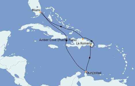 Itinéraire de la croisière Caraïbes de l'Est 8 jours à bord du Carnival Horizon