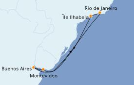 Itinéraire de la croisière Amérique du Sud 8 jours à bord du Costa Pacifica