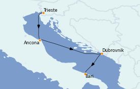 Itinéraire de la croisière Grèce & Adriatique 4 jours à bord du MSC Splendida