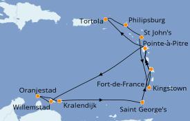 Itinéraire de la croisière Caraïbes de l'Est 15 jours à bord du Costa Fascinosa
