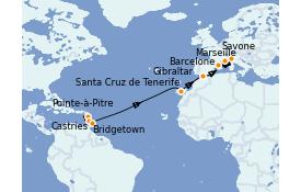 Itinéraire de la croisière Transatlantiques et Grands Voyages 2022 16 jours à bord du Costa Fascinosa