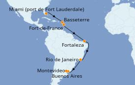 Itinéraire de la croisière Amérique du Sud 19 jours à bord du