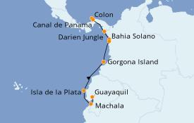 Itinéraire de la croisière Caraïbes de l'Est 9 jours à bord du Silver Explorer
