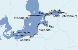 Itinéraire de la croisière Mer Baltique 12 jours à bord du Azamara Quest