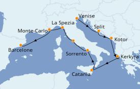 Itinéraire de la croisière Méditerranée 10 jours à bord du Norwegian Spirit