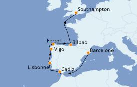 Itinéraire de la croisière Méditerranée 9 jours à bord du