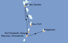 Itinéraire de la croisière Caraïbes de l'Est 8 jours à bord du Le Dumont d'Urville