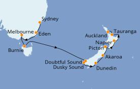 Itinéraire de la croisière Australie 2020 13 jours à bord du Norwegian Jewel