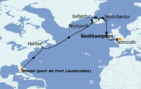 Itinerario de crucero Exploración polar 18 días a bordo del Island Princess