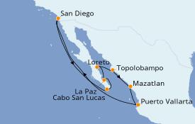 Itinéraire de la croisière Riviera Mexicaine 11 jours à bord du ms Maasdam