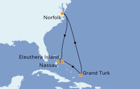 Itinéraire de la croisière Bahamas 8 jours à bord du Carnival Radiance