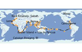 Itinéraire de la croisière Tour du Monde 2023 144 jours à bord du Seven Seas Mariner