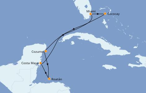 Itinéraire de la croisière Caraïbes de l'Ouest 7 jours à bord du Oasis of the Seas