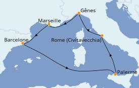 Itinéraire de la croisière Méditerranée 8 jours à bord du MSC Poesia