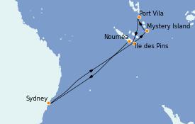 Itinéraire de la croisière Australie 2023 10 jours à bord du Radiance of the Seas