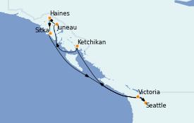 Itinéraire de la croisière Alaska 11 jours à bord du MS Regatta