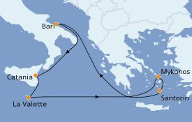 Itinéraire de la croisière Méditerranée 8 jours à bord du Costa Magica