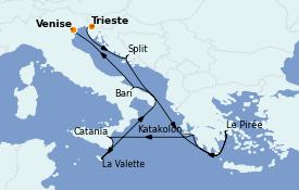 Itinéraire de la croisière Méditerranée 10 jours à bord du Costa Deliziosa