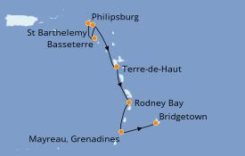 Itinéraire de la croisière Caraïbes de l'Est 8 jours à bord du Seabourn Odyssey
