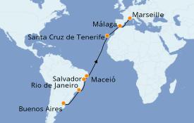 Itinéraire de la croisière Transatlantiques et Grands Voyages 2021 18 jours à bord du Costa Pacifica