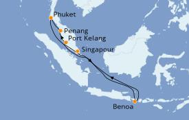Itinéraire de la croisière Asie 11 jours à bord du Grand Princess