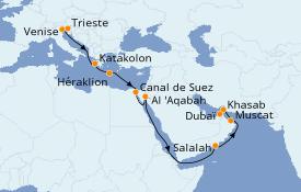 Itinéraire de la croisière Transatlantiques et Grands Voyages 2020 18 jours à bord du MSC Lirica
