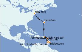 Itinéraire de la croisière Caraïbes de l'Est 13 jours à bord du Silver Whisper
