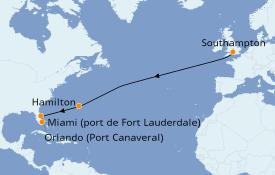 Itinéraire de la croisière Îles Britanniques 12 jours à bord du Queen Victoria
