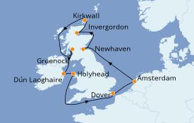 Itinéraire de la croisière Îles Britanniques 11 jours à bord du Norwegian Jade