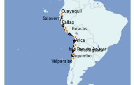 Itinerario de crucero Norteamérica 12 días a bordo del Silver Wind