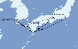 Itinéraire de la croisière Asie 6 jours à bord du Diamond Princess