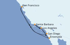 Itinéraire de la croisière Californie 8 jours à bord du Star Princess