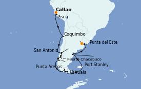 Itinéraire de la croisière Amérique du Sud 22 jours à bord du Seven Seas Splendor